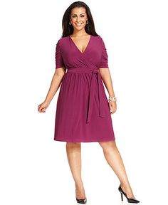 NY Collection Plus Size Dress, Elbow-Sleeve Ruched Faux Wrap - Plus Size Dresses - Plus Sizes - Macy's