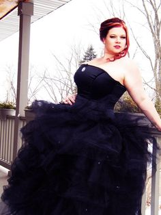 Gothic Ball Gown Black Wedding Gown Corset and Tulle Skirt-Custom Made to Order - designer is located in Stillwater MN