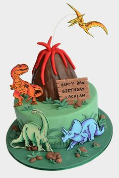 Dinosaur Cake by Sweet 'art Fancy Cakes, Cute Cakes, Dinosaur Birthday Cakes, Dinosaur Cakes For Boys, Dinosaur Party, 3rd Birthday, Birthday Cake For Him, Birthday Ideas, Dinasour Cake
