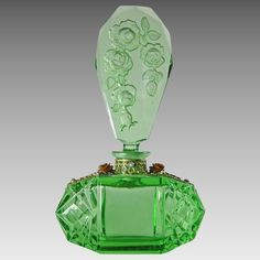 Larger Size Czech Green Jeweled Perfume Bottle