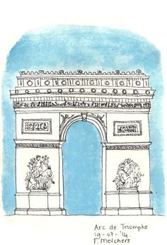 Ink drawing of the Arc de Triomphe - Paris,surrounded by blue watercolor paint. Printed on matte photopaper (225 g), the size of A6 (105 x 148 mm).