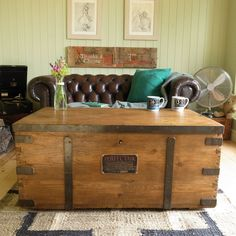 Vintage stripped PINE bound INDUSTRIAL factory chest TRUNK coffee table storage