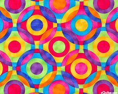 Challis & Roos Rainbow Interlocking - own 1 yd for girl's clothing Geometric Pattern Design, Design Patterns, Surface Pattern Design, Pattern Art, Textures Patterns, Print Patterns, Circle Quilts, Rainbow Quilt, Color Art