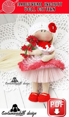 The pattern consists of 39 pages in PDF and includes body, hair, dress, underskirt, hat, scarf, boots instructions Amigurumi Doll Pattern, Crochet Amigurumi, Crochet Doll Pattern, Crochet Dolls, Red Pattern, Pikachu Crochet, Photo Pattern, Diy Crochet Patterns, Crochet Diy