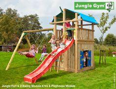 Climbing frames for kids Fort Playhouse & 2-Swing - Playsets #PinToPlay #JungleGym