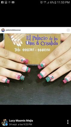 Verde con rojo Pink Nails, My Nails, Nail Art Videos, French Nails, Nail Tips, Nail Care, Pedicure, Nail Designs, Nail Polish