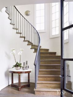 Bannister for Entry - Transitional White Staircase with Reclaimed-Oak Plank Flooring