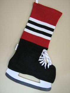Better than some of the other stockings for boys- https://www.etsy.com/listing/167219276/chicago-blackhawks-hockey-inspired