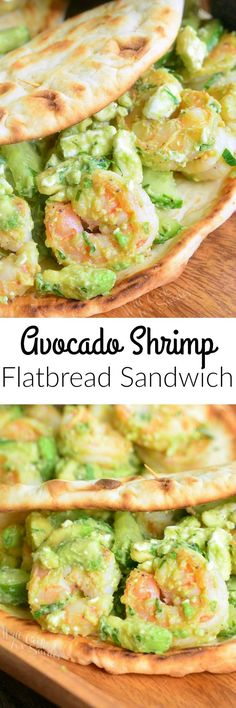 Avocado Shrimp Flatbread Sandwich. AMAZING flatbread sandwich that's packed with sauteed shrimp, creamy avocado, crunchy cucumbers, and feta cheese crumbles.