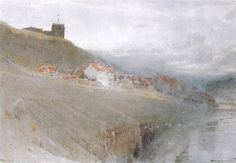 Whitby by Albert Goodwin Watercolour British Terms, Irish Painters, Watercolor Pictures, Old Master, Landscape Paintings, Landscapes, British Isles, Great Britain, 19th Century