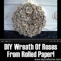 DIY Wreath Of Roses From Rolled Paper ►► http://www.diycraftzone.com/diy-wreath-of-roses-from-rolled-paper/?i=p