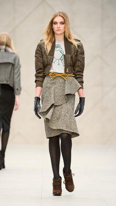 Burberry Prorsum Asymmetric Draped Tweed Skirt in Brown (yellow clower) | Lyst