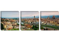 Buildings in a cityPonte Vecchio, Arno River, Duomo Santa Maria Del Fiore, Florence, Tuscany, Italy By Panoramic Images Canvas Print #PIM9323