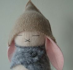 inspiration for bunny hat with lop ears---Pale Pink Taupe and Gray Bunny