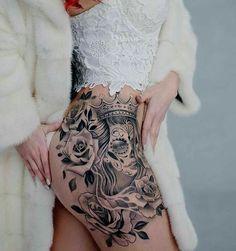 Tatouage cuisse sugar skull femme