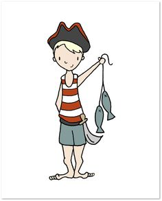 Pirate Nursery Art  Pirate No. 2  Catch Of The Day  by SweetMelodyDesigns