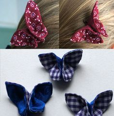 Picture of Butterfly hair clips - origami with fabric