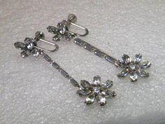 Vintage Silver Tone Krementz Long Stud & Dangle Rhinestone Screwback Earrings #Krementz #screwbackearrings