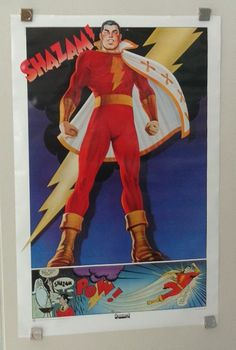 """Rare vintage original 1977 DC Comics 35"""" by 23"""" Shazam Captain Marvel Thought Factory DC Universe comic book superhero poster 1: 1970's/JLA. 1000's more rare vintage original Marvel & DC Comics posters and Official colorist's color guide art pages (used in the production of the actual Marvel & DC comic books), at SUPERVATOR.COM and at SUPERVATORCOMICPOSTERSANDART.COM"""