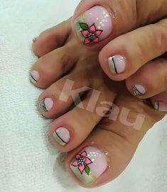 Pretty Toe Nails, Cute Toe Nails, Pretty Toes, Pedicure Nail Art, Toe Nail Art, Summer Toe Designs, Hair And Nails, My Nails, Bright Nails