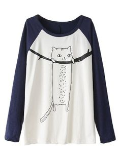 Shop Color Block Cat Pattern Drop Shoulder Long Sleeve T-shirt from choies.com .Free shipping Worldwide.$15.11