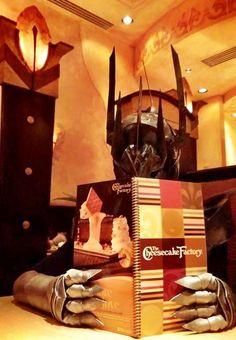 YES SAURON, LORD OF MORDOR, WILL HAVE THE HERB CRUSTED SALMON FILET PLEASE. AND THIS IS SAURON'S CHEAT DAY SO SAURON WILL TREAT HIMSELF TO THE CHOCOLATE RASPBERRY TRUFFLE CHEESECAKE. SAURON DESERVES IT. ~ L.O.L!
