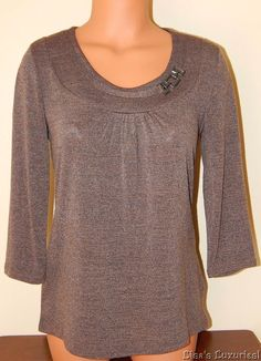 NWT East 5th Women's S Loose Fit Top 3/4 Sleeve Chain Accent Oak Heather #East5th #Tunic #Casual