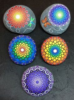 Five Hand Painted Mandala Stones by artist Kimberly Vallee. These were custom made. Absolutely Stunning!!