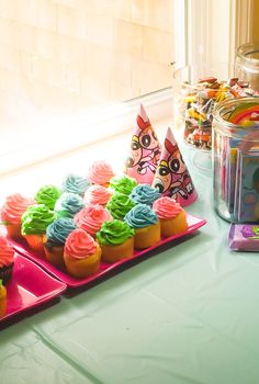 Powerpuff girl birthday party cupcakes
