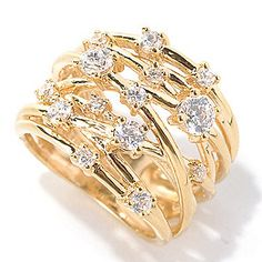 I am so getting this! Brilliante® Round Cut Simulated Diamond Crisscross Open Shank Band Ring