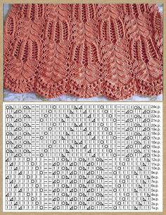 Tricot - Tricot * Crochet * Couture *¨* Broderie *¨* Lace Knitting Stitches, Lace Knitting Patterns, Knitting Charts, Easy Knitting, Cable Knitting, Knitting Needles, Stitch Patterns, Knitting Machine, Crochet Lace Scarf