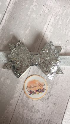 Chunky Silver Gracie Bow. Hair Bow. Hair Band. Baby Band. Auburn Rose Boutique