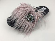 FeatherFaux slide dusty rose www.jamiekreitman.com Fur Slides, Dusty Rose, Slide Sandals, Earrings, Jewelry, Sandals, Ear Rings, Dusty Pink, Stud Earrings