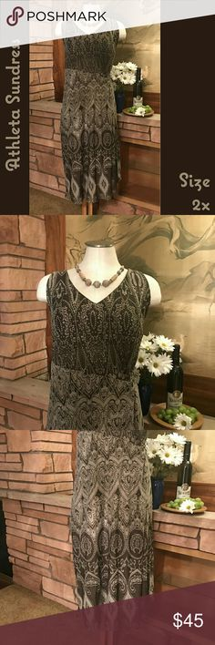 🆕➕🍇Athleta Racerback Sundress This cute sundress has great lines and will look great on you this summer! It is in EUC.    From a smoke-free and happy-to-bundle closet.    The necklace is available in a separate listing.     No trades or transactions outside of Poshmark.  [T] Athleta Dresses Midi