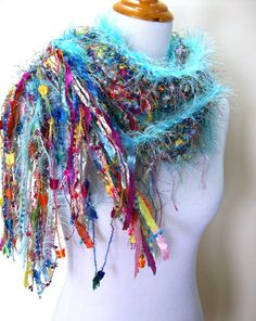 Jewels Hand Knit Scarf Sky Blue and Vivid Jewel Tones by Fanchi, $40.00