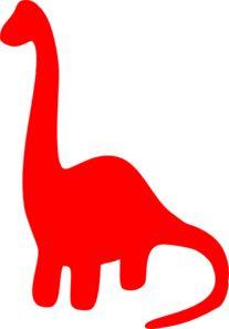 Red Dinosaur Silhouette  Clip Art