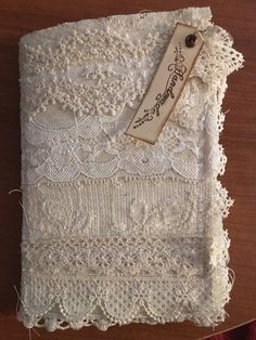 Handmade lace junk journal  2019  Handmade junk journal with lace cover . Coffee dyed lace pockets ephemera including small notebook. Hand stamped  The post Handmade lace junk journal  2019 appeared first on Lace Diy.