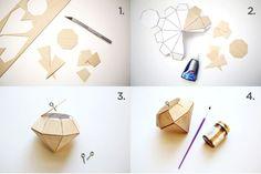 bricolage de Noël en bois diamant étape par étape en papier aspect bois