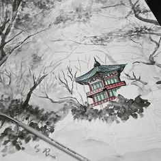 #illustration #drawing #painting #graphic #art #photooftheday #watercolor #japan #pagoda #temple #artist #architecture #korea #instaphoto #insta #follow #artbyrera #instagood #instacoolpicture  #autumn #maple #leaves #絵 #アーティスト #그림 #드로잉 #수채화 #스케치 #가을