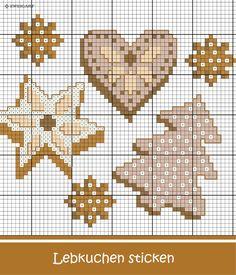 Weihnachtliche Plätzchen und Lebkuchen sticken.  #Sticken #Kreuzstich / #Weihnachten / #Lebkuchen; #Embroidery #Crossstitch / #Christmas / #gingerbread / #ZWEIGART