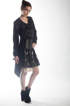 J'Amy Tarr Fall-2012 Look #5, Sueded silk charmeuse tank in black, Lambskin and silk organza applique detail circle skirt