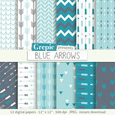 """Arrows digital paper: """"BLUE ARROWS"""" backgrounds with arrow patterns, tribal archery, triangles backgrounds in blue, teal, turquoise colors #patterns #scrapbooking"""