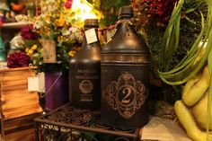 rustic decorative only drinking vessels / jugs in dark browns and golds