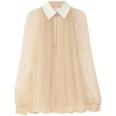 Chloé Silk-chiffon blouse (6 770 SEK) ❤ liked on Polyvore featuring tops, blouses, shirts, blusas, transparent blouse, cuff shirts, silk chiffon blouse, pleated blouse and transparent shirt