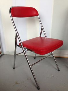 VINTAGE CHROME & RED VINYL FOLD UP Retro CHAIRS Cafe Study Dining Industrial