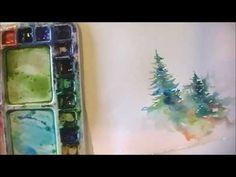 Watercolor evergreens