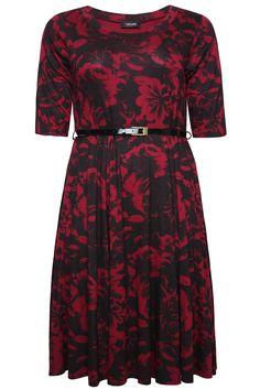 Black & Red Rose Print Skater Midi Dress With Patent Belt plus size 16,18,20,22,24,26,28,30,32