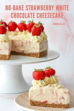 With the delicious combination of strawberry and white chocolate, this simple, easy no-bake cheesecake is so creamy yet sets firmly with no gelatin required! Strawberry White Chocolate Cheesecake, Easy Strawberry Desserts, White Chocolate Desserts, Chocolate Cheesecake Recipes, Summer Dessert Recipes, Fun Desserts, Dessert Ideas, Best No Bake Cheesecake, Fruit Cheesecake