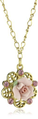 """1928 Bridal Porcelain Rose Pink Crystal Necklace,16""""+3 Inch Extender 1928 Jewelry,http://www.amazon.com/dp/B001ZX1PG4/ref=cm_sw_r_pi_dp_nQ7ptb1BNMTFP4FA"""