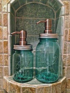 Vintage Blue or Clear Mason Jar Soap or Lotion Dispenser Gammas Soap and Stuff http://www.amazon.com/dp/B00O74VUJU/ref=cm_sw_r_pi_dp_VdLGwb0ZJ9AH7